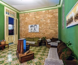 The lounge room of La Gargola Hostal in Old Havana