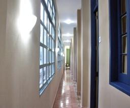 The brightly lit corridor at La Gargola Guesthouse in Old Havana, Cuba