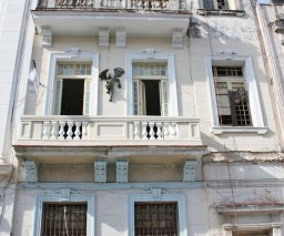 The front facade of the building where La Gargola Guesthouse is located in Old Havana, Cuba