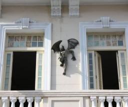 The gargoyle statue overlooking Cuba street in Old Havana