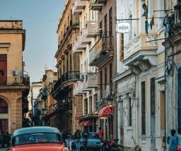 The street immediately outside La Gargola guesthouse in Old Havana