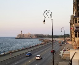 A view of Morro castle in Havana from a guesthouse balcony