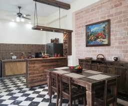 kitchen and dining area in a private guesthouse in Old Havana Cuba